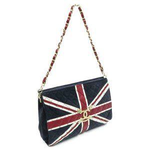Chanel UK Flag Union Jack Shoulder Navy Suede bag